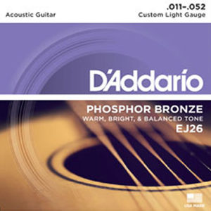 D'Addario EJ26 Phosphor Bronze Custom Light 11-52