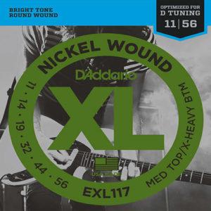 D'Addario EXL117 Nickel Wound, Medium Top/Extra-Heavy Bottom, 11-56
