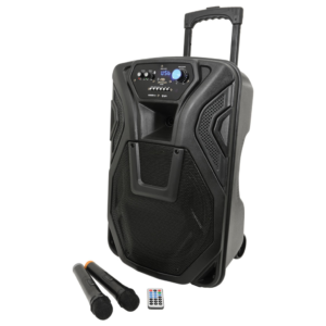 QTX Busker 12 Rechargeable Battery Powered Portable PA inc/2 x Wireless Microphone/Bluetooth